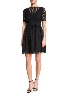 Carven Short-Sleeve Eyelet A-Line Dress