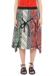 Carven Silk Multi-Print Skirt