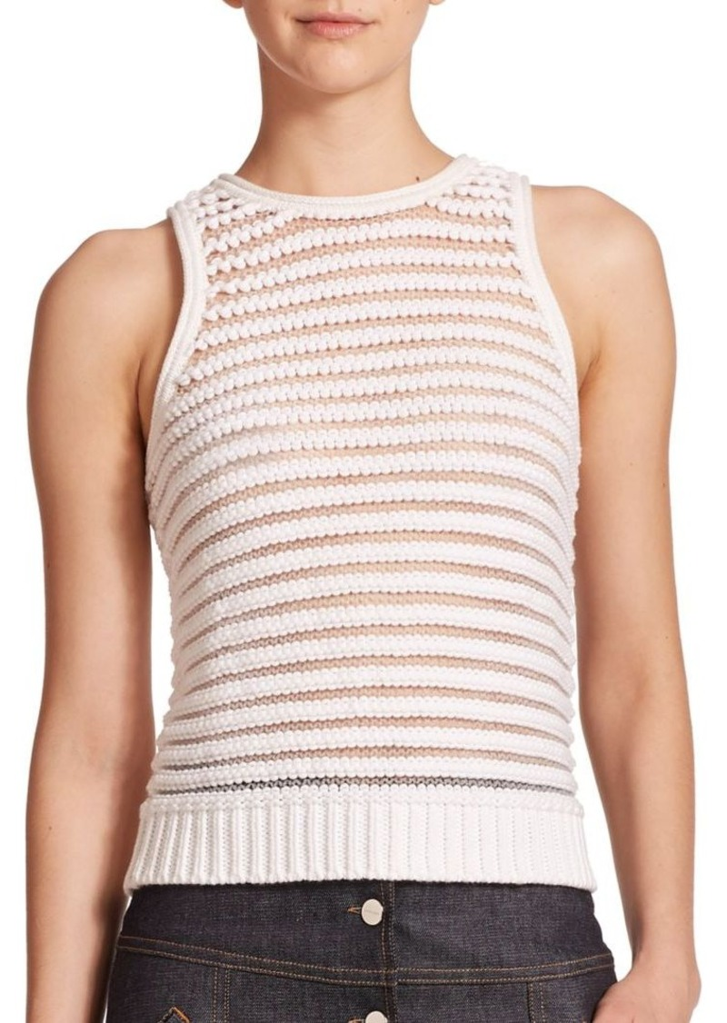Carven Sleeveless Striped Knit Top