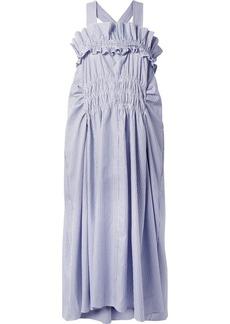 Carven Smocked Ruffled Striped Cotton-poplin Midi Dress