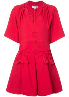 Carven stitch and pocket detailed mini dress - Red