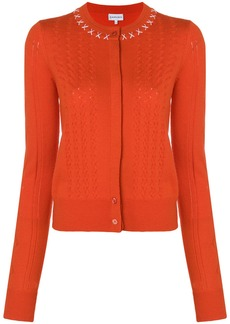Carven stitched-collar fitted cardigan - Yellow & Orange