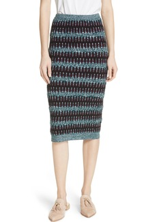 Carven Stripe Merino Wool & Cotton Skirt