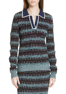 Carven Stripe Merino Wool Blend Polo Sweater