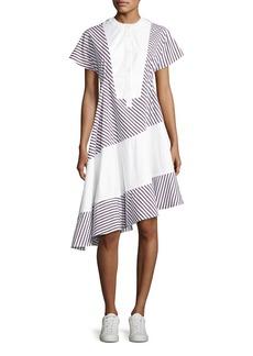 Carven Striped Asymmetric Midi Dress