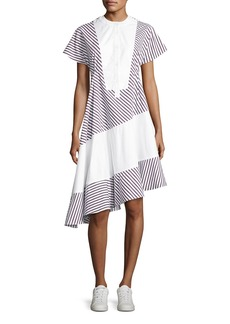 Carven Striped Asymmetric Midi Dress