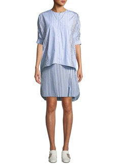 Carven Striped Layered 3/4-Sleeve Shirtdress