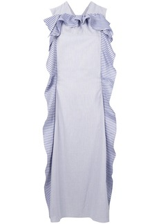Carven striped sleeveless ruffle midi dress - White