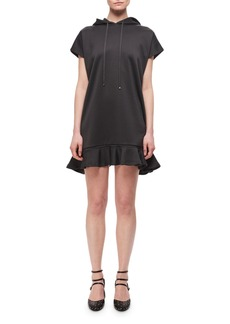 Carven Technical Jersey Hooded Ruffled Dress