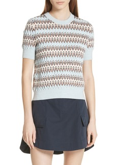 Carven Textured Stripe Merino Wool & Cotton Sweater
