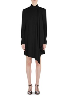 Carven Tie Neck Long Sleeve Mini Dress