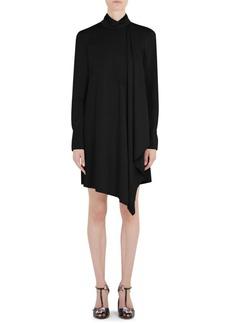 Carven Tie Neck Long-Sleeve Mini Dress