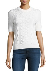 Carven Twist-Knit Short Sleeve Pullover Top