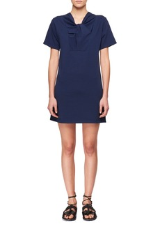 Carven Twist-Neck Short-Sleeve Cotton Jersey Dress