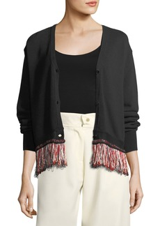 Carven V-Neck Button-Front Cotton-Blend Cardigan with Fringed Hem