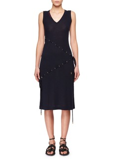 Carven V-Neck Sleeveless Cord-Knit Dress w/ Asymmetric Drawstrings