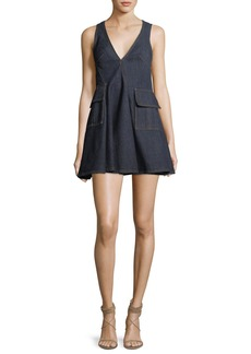 Carven V-Neck Sleeveless Denim Short Dress