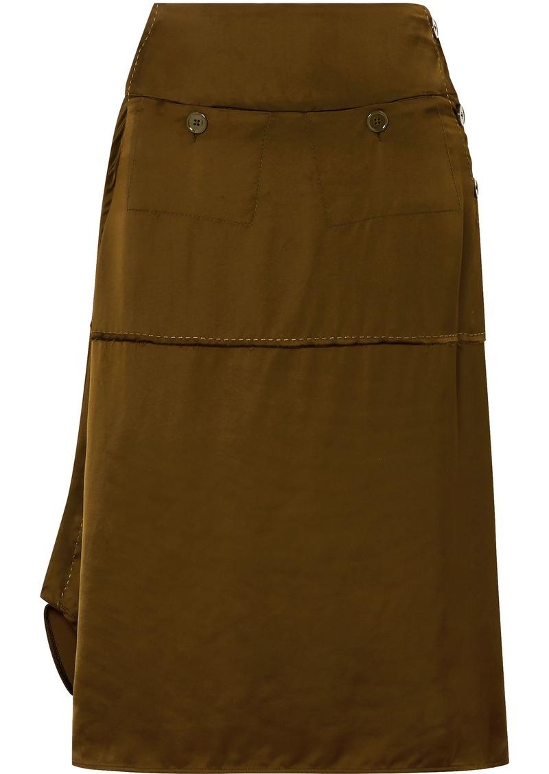 Carven Woman Asymmetric Satin Midi Skirt Army Green