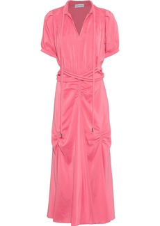 Carven Woman Belted Ruched Silk Crepe De Chine Midi Dress Pink