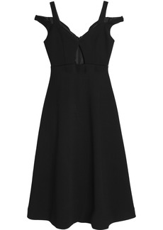 Carven Woman Cold-shoulder Cutout Crepe Dress Black
