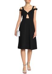 Carven Woman Cold-shoulder Cutout Crepe Dress Black