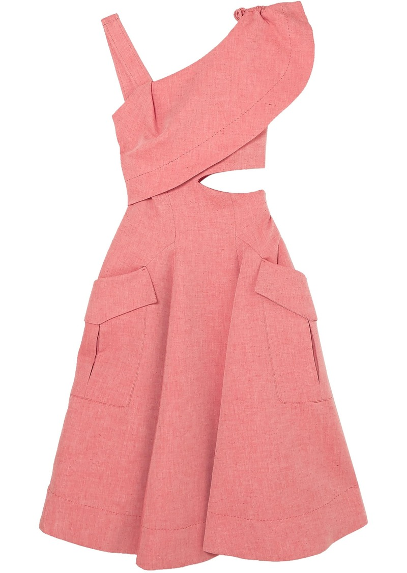 Carven Woman Cutout Ruffled Cotton-blend Twill Midi Dress Antique Rose