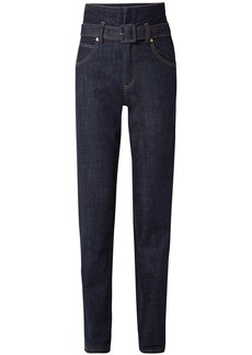Carven Woman High-rise Straight-leg Jeans Indigo