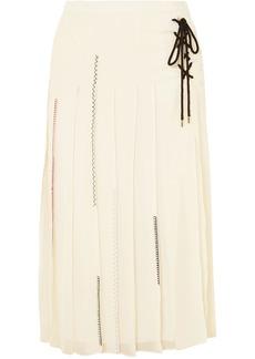 Carven Woman Lace-up Pleated Silk-chiffon Midi Skirt Cream