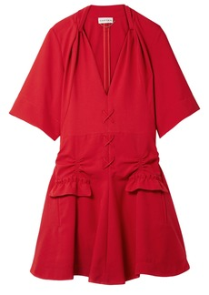 Carven Woman Lace-up Ruched Canvas Mini Dress Crimson