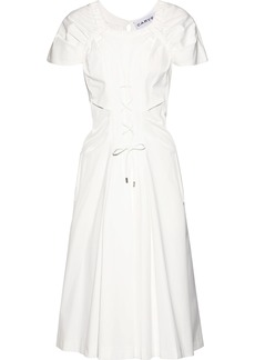 Carven Woman Lace-up Shirred Cotton-poplin Midi Dress White