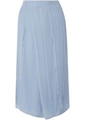 Carven Woman Pleated Silk-chiffon Paneled Wrap Skirt Light Blue