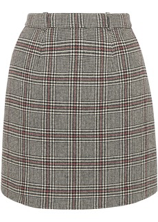 Carven Woman Prince Of Wales Checked Wool-blend Mini Skirt Gray
