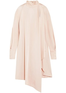 Carven Woman Pussy-bow Draped Stretch-jersey Dress Pastel Pink