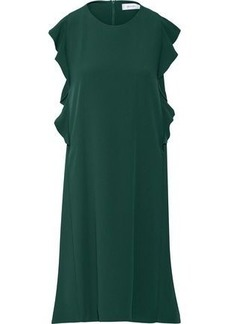 Carven Woman Ruffled Crepe Mini Dress Forest Green