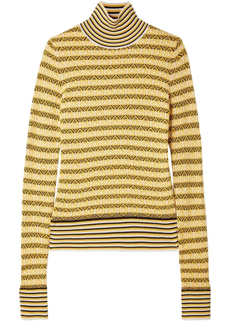 Carven Woman Wool-blend Jacquard Turtleneck Sweater Yellow