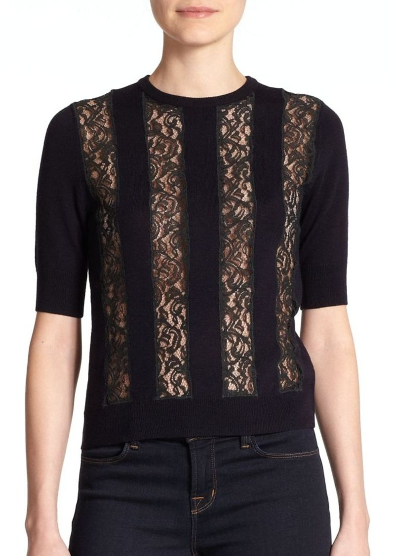 Carven Wool Lace-Panel Sweater