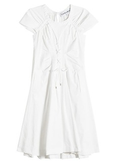 Carven Cotton Dress with Lace-Up Front