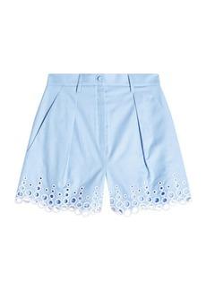 Carven Cotton Shorts with Eyelet Hem