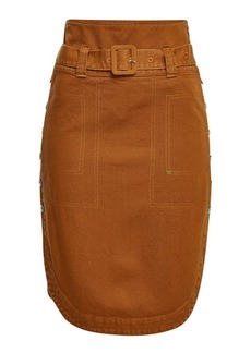 Carven Denim Skirt with Buttoned Sides
