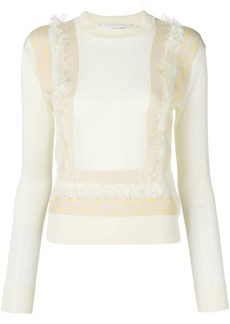 Carven fringed jacquard insert sweater