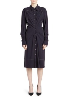 Carven Gathered Jersey Shirtdress