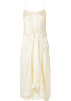 Carven Gathered Satin Midi Dress