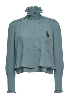 Carven High-Neck Blouse with Embellishment