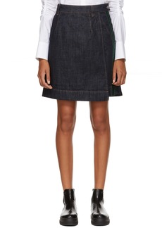Carven Indigo Denim Wrap Miniskirt