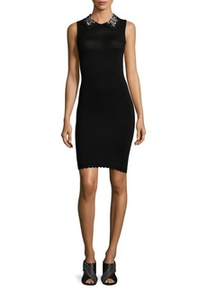 Carven Jeweled Collar Knit Dress