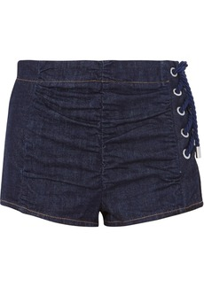 Carven Lace-up Ruched Denim Shorts