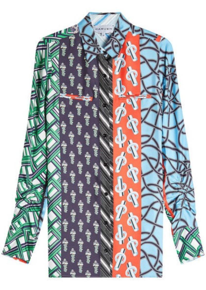 Carven Multi Scarf Print Shirt In Silk Casual Shirts