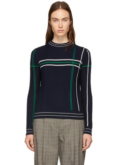 Carven Navy Grid Stripe Sweater