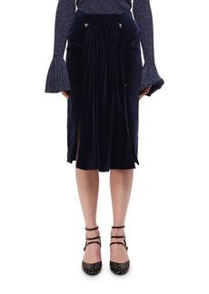 Carven Pleated Velvet Midi Skirt W/ Studs