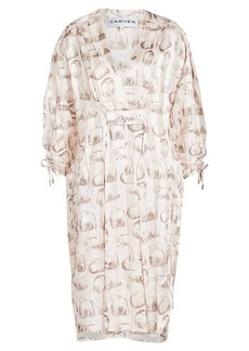 Carven Printed Silk Tunic Dress